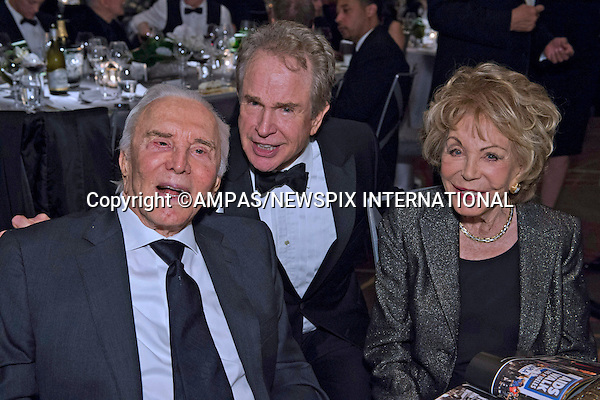 "WARREN BEATTY, KIRK AND ANNE DOUGLAS.at the 2012 Governors Awards in the Grand Ballroom at Hollywood & Highland in Hollywood, Los Angeles_1/12/2012.Mandatory Photo Credit: ©Harbaugh/Newspix International..              **ALL FEES PAYABLE TO: ""NEWSPIX INTERNATIONAL""**..PHOTO CREDIT MANDATORY!!: NEWSPIX INTERNATIONAL(Failure to credit will incur a surcharge of 100% of reproduction fees)..IMMEDIATE CONFIRMATION OF USAGE REQUIRED:.Newspix International, 31 Chinnery Hill, Bishop's Stortford, ENGLAND CM23 3PS.Tel:+441279 324672  ; Fax: +441279656877.Mobile:  0777568 1153.e-mail: info@newspixinternational.co.uk"