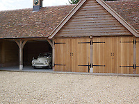The garage has space for several vehicles in the grounds of this converted manor house