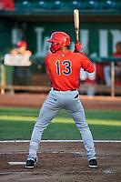 Jo Adell (13) of the Orem Owlz bats against the Ogden Raptors at Lindquist Field on September 2, 2017 in Ogden, Utah. Ogden defeated Orem 16-4. (Stephen Smith/Four Seam Images)