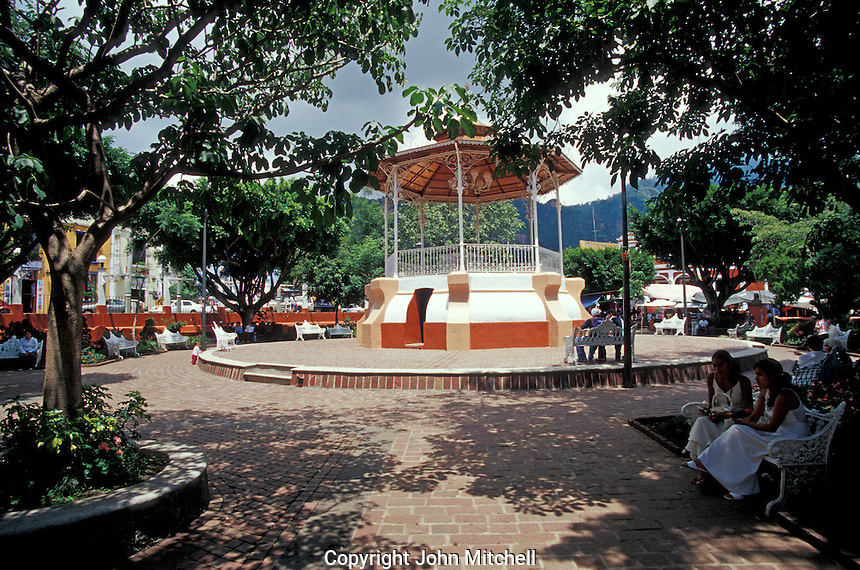 Main square in the Spanish colonial town of Tepoztlan, Morelos, Mexico. Tepoztlan has been designated a pueblo magico or magical town.