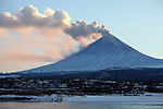 Eruption of Kliuchevskoi (Klyuchevskoy) Volcano, Kamchatka, Russia showing ash and steam clouds being blown away by wind. View is over the industrial area of Kliuchi with the Kamchatka River in the foreground.