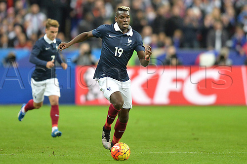 13.11.2015. Stade de France, Paris, France. International football friendly. France versus Germany.  PAUL POGBA . The game was parially interupted as the paris terror attacks took place and bombs were heard going off outside the stadium.
