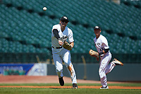 Wake Forest Demon Deacons third baseman Johnny Aiello (2) makes a throw to first base against the Miami Hurricanes in Game Nine of the 2017 ACC Baseball Championship at Louisville Slugger Field on May 26, 2017 in Louisville, Kentucky. The Hurricanes defeated the Demon Deacons 5-2. (Brian Westerholt/Four Seam Images)