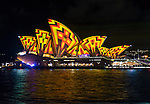 The Sydney Opera House illuminated during the 2016 Vivid Light Festival.