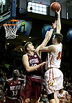 SIOUX FALLS, SD - MARCH 22: Zach Hankins #35 from Ferris State shoots over Wyatt Wheatly #32 from West Texas A&M during their semifinal game at the 2018 Elite Eight Men's NCAA DII Basketball Championship at the Sanford Pentagon in Sioux Falls, SD. (Photo by Dave Eggen/Inertia)
