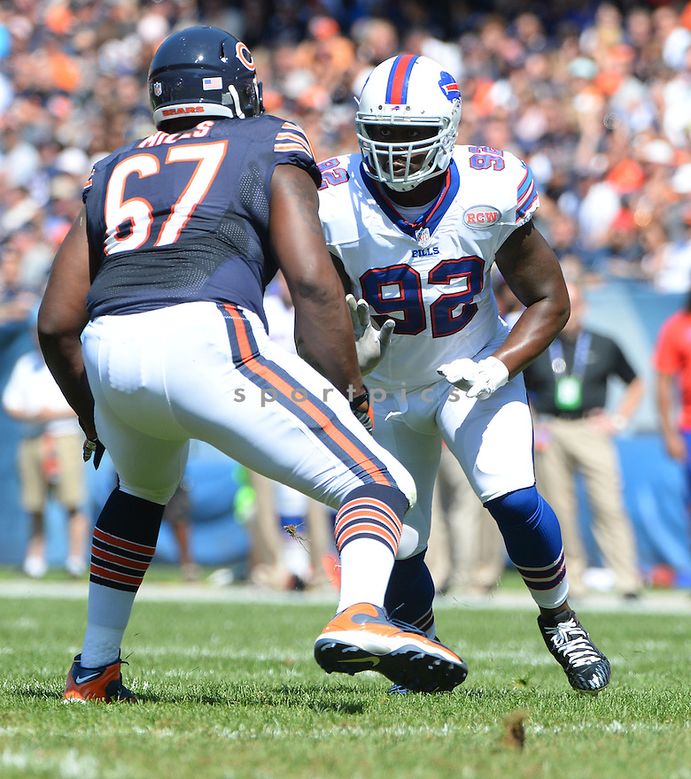 Buffalo Bills Jarius Wynn (92) during a game against the Chicago Bears on September 7, 2014 at Soldier Field in Chicago, IL. The Bills beat the Bears 23-20.