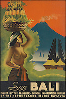 BNPS.co.uk (01202 558833)<br /> Pic: SwannGalleries/BNPS<br /> <br /> ***Please Use Full Byline***<br /> <br /> Exotic Bali from 1938 - &pound;1000<br /> <br /> Beautiful posters from the halcyon days of travel up for auction.<br /> <br /> Scarce vintage travel posters promoting holidays across the globe in the 1920's and 30's are tipped to sell for over &pound;200,000 .<br /> <br /> The fine collection of 200 works of art that hark back to the halcyon days of train and boat travel have been brought together for sale.<br /> <br /> The posters were used to advertise dream holiday destinations in far-flung places such as the US and Australia and to celebrate the luxurious ways of getting to them.<br /> <br /> Most of the advertising posters date back to the 1930s and are Art Deco in style and they are all from the original print-run.