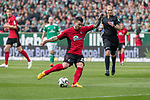 13.04.2019, Weser Stadion, Bremen, GER, 1.FBL, Werder Bremen vs SC Freiburg, <br /> <br /> DFL REGULATIONS PROHIBIT ANY USE OF PHOTOGRAPHS AS IMAGE SEQUENCES AND/OR QUASI-VIDEO.<br /> <br />  im Bild<br /> <br /> Jerome Gondorf (SC Freiburg #20)<br /> <br /> Foto &copy; nordphoto / Kokenge