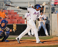 Outfielder Jonathan Clark (24) of the Kingsport Mets, Appalachian League affiliate of the New York Mets, in a game against the Burlington Royals on August 20, 2011, at Hunter Wright Stadium in Kingsport, Tennessee. Kingsport defeated Burlington, 17-14. (Tom Priddy/Four Seam Images)