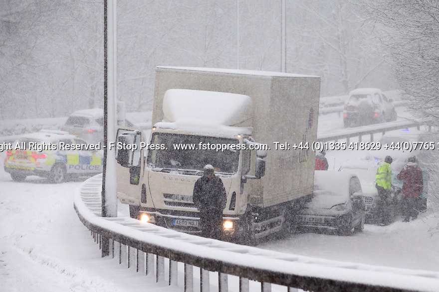 29/01/15<br /> <br /> An accident blocks the A515<br /> <br /> Heavy snowfall results in multiple accidents, stranded vehicles and traffic chaos as the wintery weather does its best to shut down theDerbyshire Peak District town of Buxton.<br /> <br /> All Rights Reserved - F Stop Press.  www.fstoppress.com. Tel: +44 (0)1335 418629 +44(0)7765 242650