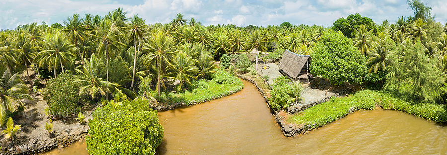 An aerial view of the traditional men's meeting house or Faluw, Torow Village, Yap, Micronesia.
