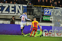 VOETBAL: ABE LENSTRA STADION: HEERENVEEN: 30-11-2013, SC Heerenveen - Go Ahead Eagles, uitslag 3-1, Yanic Wildschut (#14 | SCH), Doke Schmidt (#12 | GAE), Eloy Room (#1 | GAE), ©foto Martin de Jong