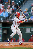 Louisville Bats shortstop Juan Perez (4) at bat during a game against the Buffalo Bisons on June 22, 2016 at Coca-Cola Field in Buffalo, New York.  Buffalo defeated Louisville 8-1.  (Mike Janes/Four Seam Images)