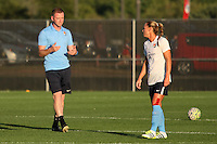 Piscataway, NJ - Wednesday Sept. 07, 2016: Christy Holly, Christie Rampone prior to a regular season National Women's Soccer League (NWSL) match between Sky Blue FC and the Orlando Pride FC at Yurcak Field.