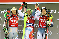 January 8th 2020, Madonna di Campiglio, Italy; FIS Alpine Ski World Cup Men's Night Slalom in Madonna di Campiglio, Italy on January 8, 2020,<br /> Henrik Kristoffersen (NOR), Daniel Yule (SUI), Clement Noel (FRA) celebrate their win on the podium
