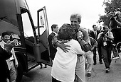 Canton, Missouri.USA .August 4, 2004..Senator John Kerry andd his wife Teresa campaign for the US presidency on their tour across America. ..
