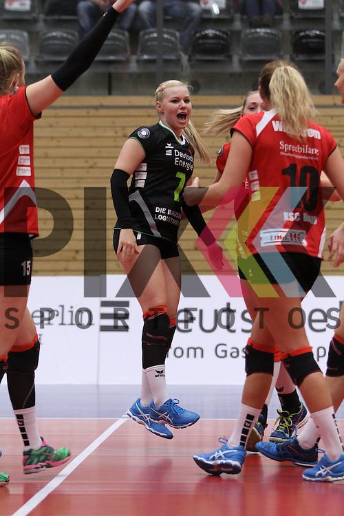 Koepenicks Anna Pogany jubelt beim Spiel in der Volleyball Bundesliga, Koepenicker SC Berlin  - VCO Berlin.<br /> <br /> Foto &copy; PIX-Sportfotos *** Foto ist honorarpflichtig! *** Auf Anfrage in hoeherer Qualitaet/Aufloesung. Belegexemplar erbeten. Veroeffentlichung ausschliesslich fuer journalistisch-publizistische Zwecke. For editorial use only.