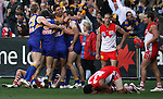 2006 AFL Grand Final at the MCG West Coast Eagles v Sydney Swans. Victorious Eagles celebrate as the final siren sounds, Sydney players less happy.