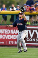 Pawtucket Red Sox outfielder Alex Hassan (21) catches a fly ball during a game against the Buffalo Bisons on August 26, 2014 at Coca-Cola Field in Buffalo, New  York.  Pawtucket defeated Buffalo 9-3.  (Mike Janes/Four Seam Images)