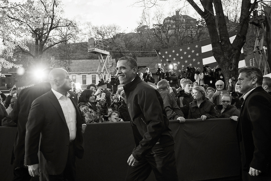 U.S. President Barack Obama arrives at a campaign rally in Dubuque, Iowa