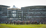 LIVERPOOL - APRIL 14: Horses line up to start in the Randox Health Grand National Steeplechase at Aintree Racecourse in Liverpool, UK (Photo by Sophie Shore/Eclipse Sportswire/Getty Images)