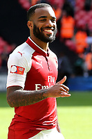 Alexandre Lacazette of Arsenal celebrates winning the Community Shield during Arsenal vs Chelsea, FA Community Shield Football at Wembley Stadium on 6th August 2017