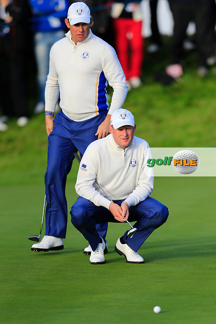 Lee Westwood and Jamie Donaldson (EUR) during the Saturday morning Fourballs of the 2014 Ryder Cup at Gleneagles. The 40th Ryder Cup is being played over the PGA Centenary Course at The Gleneagles Hotel, Perthshire from 26th to 28th September 2014.: Picture Eoin Clarke, www.golffile.ie / www.golftouri,ages.com: \27/09/2014\