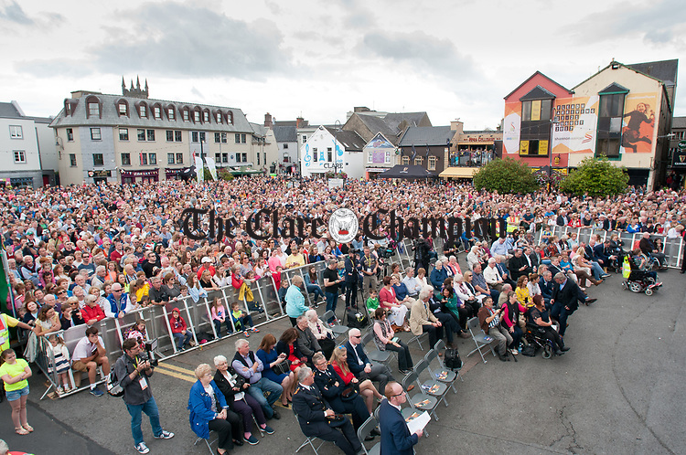 A view of the crowd at the official opening of the All-Ireland Fleadh 2017 in Ennis. Photograph by John Kelly.