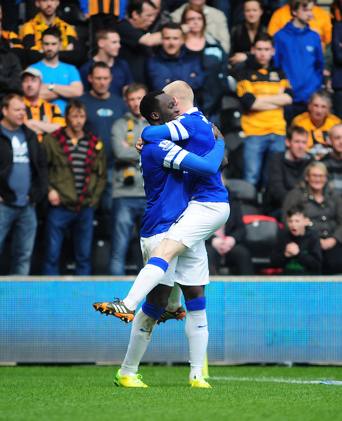 Everton's Romelu Lukaku celebrates scoring his sides second goal with team-mate Steven Naismith<br /> <br /> Photographer Chris Vaughan/CameraSport<br /> <br /> Football - Barclays Premiership - Hull City v Everton - Sunday 11th May 2014 - Kingston Communications Stadium - Hull<br /> <br /> &copy; CameraSport - 43 Linden Ave. Countesthorpe. Leicester. England. LE8 5PG - Tel: +44 (0) 116 277 4147 - admin@camerasport.com - www.camerasport.com