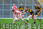 Michael O'Riordan Rathmore breaks away from Currow defender Martin Howard during their O'Donoghue cup semi final in Fitzgerald Stadium on Sunday