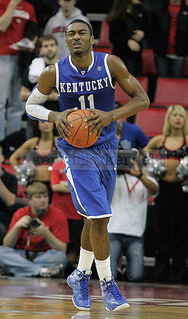 Freshman guard John Wall grimaces in pain while running down the court in the second half of UK's 80-68 win over Georgia at Stegeman Coliseum  in Athens, GA on Wednesday, March 3, 2010. Photo by Britney McIntosh | Staff