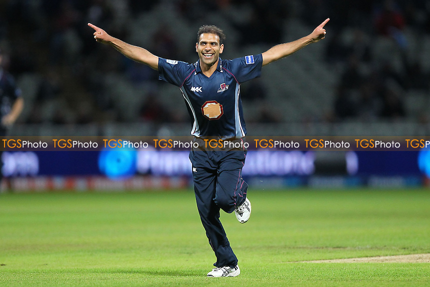 Muhammad Azharullah of Northants celebrates the wicket of Azhar Mahmood - Surrey Lions vs Northamptonshire Steelbacks - Friends Life T20 Finals Day - The Final at Edgbaston Stadium, Birmingham - 17/08/13 - MANDATORY CREDIT: Gavin Ellis/TGSPHOTO - Self billing applies where appropriate - 0845 094 6026 - contact@tgsphoto.co.uk - NO UNPAID USE