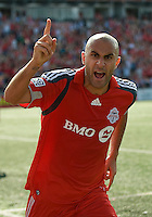 06 June 2009: Toronto FC forward Danny Dichio #9 celebrates his goal during MLS action at BMO Field Toronto in a game between LA Galaxy and Toronto FC. .The Galaxy  won 2-1.