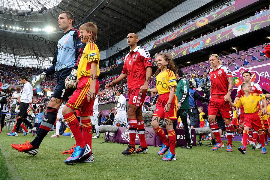 13.06.2012 LWOW - STADION ARENA LWOW ( LVIV UKRAINE STADIUM ARENA LVIV ) PILKA NOZNA ( FOOTBALL ) MISTRZOSTWA EUROPY W PILCE NOZNEJ UEFA EURO 2012 ( EUROPEAN CHAMPIONSHIPS UEFA EURO 2012 ) GRUPA B ( POOL B ) MECZ DANIA - PORTUGALIA ( GAME DENMARK - PORTUGAL ).NZ STEPHAN ANDERSEN , SIMON POULSEN , SIMON KJAER , .FOTO MICHAL STANCZYK / CYFRASPORT/NEWSPIX.PL.---.Newspix.pl