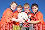 MINI 7'S: Conor McCrohan, Ryan Carroll, Eoin Kearney and Solos O'Halloran from Booleenshire National School taking part in the Mini 7's in Ardfert on Thursday.