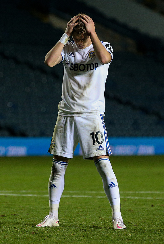 Leeds United's Ezgjan Alioski reacts after missing a penalty<br /> <br /> Photographer Alex Dodd/CameraSport<br /> <br /> Carabao Cup Second Round Northern Section - Leeds United v Hull City -  Wednesday 16th September 2020 - Elland Road - Leeds<br />  <br /> World Copyright © 2020 CameraSport. All rights reserved. 43 Linden Ave. Countesthorpe. Leicester. England. LE8 5PG - Tel: +44 (0) 116 277 4147 - admin@camerasport.com - www.camerasport.com