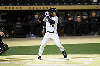 Brendan Tinsman (9) of the Wake Forest Demon Deacons at bat against the Louisville Cardinals at David F. Couch Ballpark on March 6, 2020 in  Winston-Salem, North Carolina. The Cardinals defeated the Demon Deacons 4-1. (Brian Westerholt/Four Seam Images)
