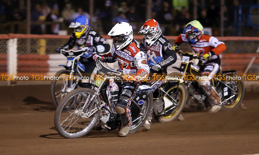 Heat 7: Simon Gustafsson (white), Richard Lawson (red), Dan Greenwood (yellow) and Adam Ellis (blue) - Lakeside Hammers vs Swindon Robins, Elite League Speedway at the Arena Essex Raceway, Pufleet - 25/04/14 - MANDATORY CREDIT: Rob Newell/TGSPHOTO - Self billing applies where appropriate - 0845 094 6026 - contact@tgsphoto.co.uk - NO UNPAID USE