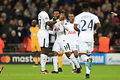 6th December 2017, Wembley Stadium, London England; UEFA Champions League football, Tottenham Hotspur versus Apoel Nicosia; Georges-Kevin Nkoudou of Tottenham Hotspur celebrates with Moussa Sissoko after scoring as he makes it 3-0
