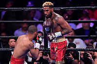 """Fairfax, VA - May 11, 2019: Jarrett """"Swift"""" Hurd during Jr. Middleweight title fight against Julian J-Rock"""" Williams at Eagle Bank Arena in Fairfax, VA. Julian Williams defeated Hurd to take home the IBF, WBA and IBO Championship belts by unanimous decision. (Photo by Phil Peters/Media Images International)"""