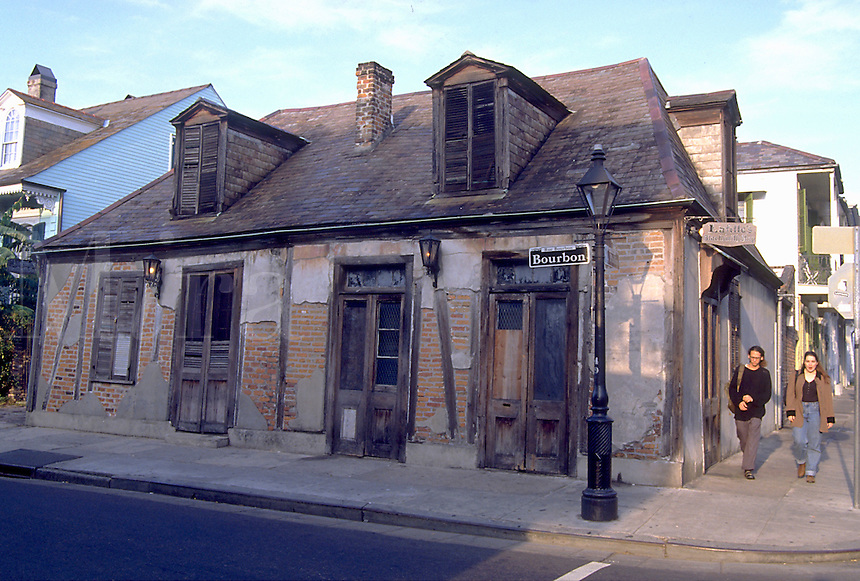 The exterior of historical figure Jean Lafitte's backsmith shop. French Quarter, New Orleans, Louisiana.