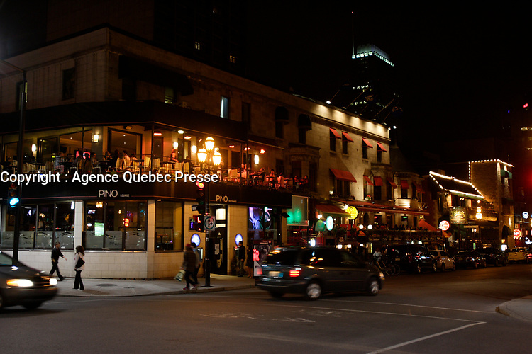 Montreal (Qc) Canada - July 12 2009 - Downtown Montreal at night :Crescent street