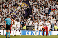 6th November 2019; Estadio Santiago Bernabeu, Madrid, Spain; UEFA Champions League Football, Real Madrid versus Galatasaray; Rodrygo (Real Madrid)  celebrates his hat trick goal which made it 6-0 in the 90th minute - Editorial Use
