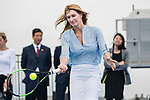 Steffi Graf of Germany, the global ambassador of Zhuhai WTA Elite Trophy 2017, hits a return during the Steffi Graff tennis show at Zhuhai Tower on November 04, 2017 in Zhuhai, China. Photo by Yu Chun Christopher Wong / Power Sport Images