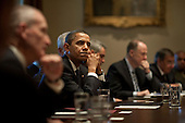Washington, DC - October 28, 2009 -- United States President Barack Obama listens during his meeting with the President's Intelligence Advisory Board in the Cabinet Room of the White House, October 28, 2009.Mandatory Credit: Pete Souza - White House via CNP