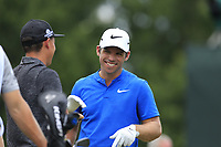 Paul Casey (ENG) and Rickie Fowler (USA) on the 1st tee to start Saturday's Round 3 of the 2017 PGA Championship held at Quail Hollow Golf Club, Charlotte, North Carolina, USA. 12th August 2017.<br /> Picture: Eoin Clarke | Golffile<br /> <br /> <br /> All photos usage must carry mandatory copyright credit (&copy; Golffile | Eoin Clarke)