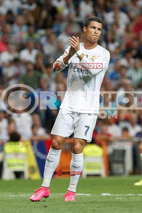 Real Madrid´s Cristiano Ronaldo during La Liga match at Santiago Bernabeu stadium in Madrid, Spain. August 29, 2015. (ALTERPHOTOS/Victor Blanco)