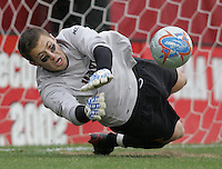 DEC 3, 2005: College Park MD, USA: Maryland Terrapins goalkeeper (0) Chris Seitz saves a penalty kick while playing the Akron Zips at Ludwig Field. Mandatory Credit: Photo By Brad Smith-International Sports Images (c) Copyright 2005 Brad Smith