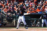 Oregon State Beavers center fielder Preston Jones (33) at bat during a game against the Gonzaga Bulldogs on February 16, 2019 at Surprise Stadium in Surprise, Arizona. Oregon State defeated Gonzaga 9-3. (Zachary Lucy/Four Seam Images)