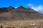 Volcanic peaks against deep blue sky, Jandia peninsula, Fuerteventura, Canary Islands, Spain